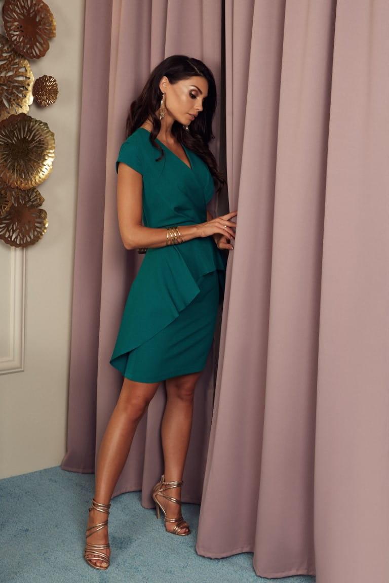 Sukienka Simona zielona - z baskinką