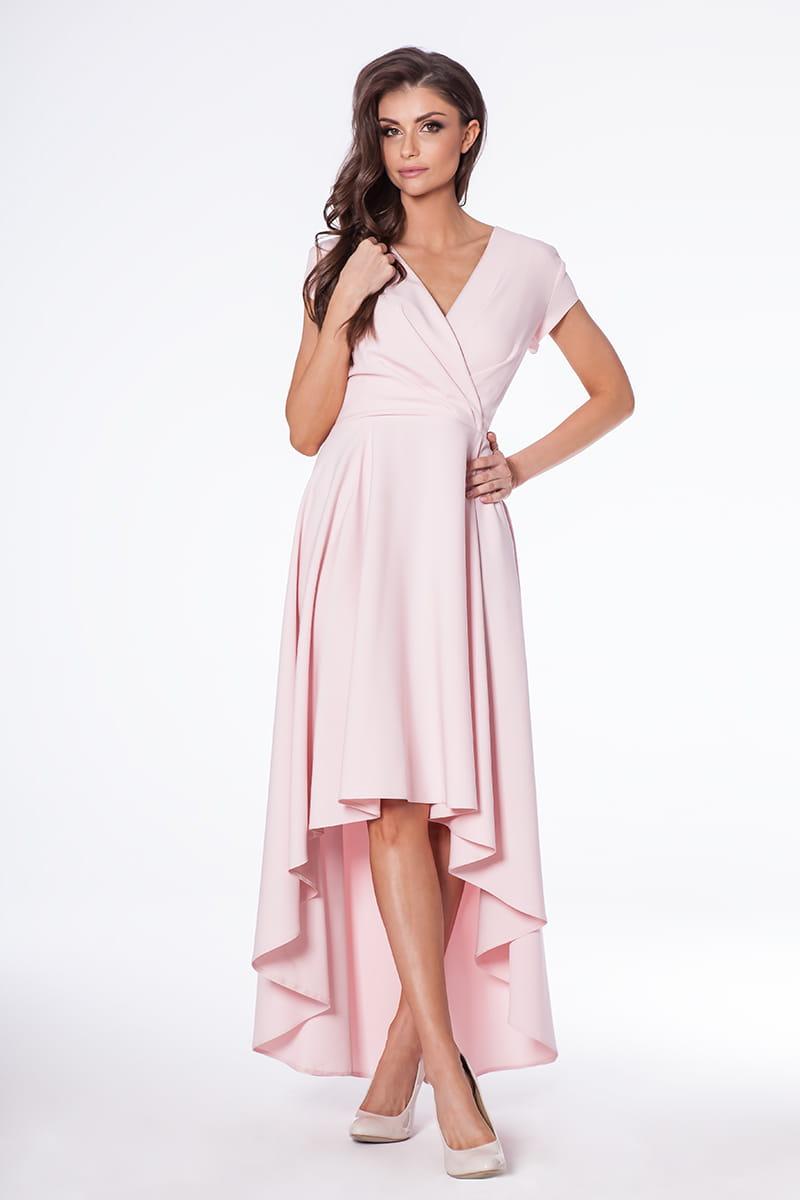 Sukienka Selena pudrowy róż - z długim trenem